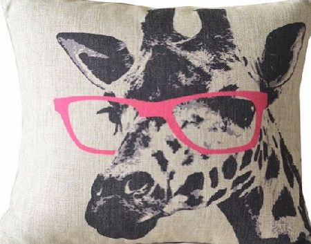 Enwis Cartoon Giraffe Pink Glasses Cotton Linen Sofa Decor Throw Pillow Covers Pillowcase Sham Decor Cushion Cover Slipcovers Square 18x18 Inch 18`` Only Cover No Insert