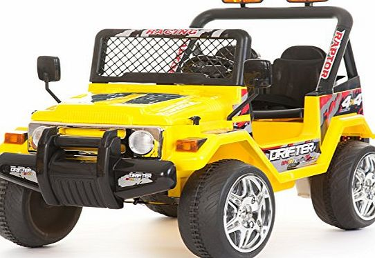 Epic Kids 2 Seater 12v Electric / Battery Ride on Car / Wrangler Style Jeep 4X4 Yellow