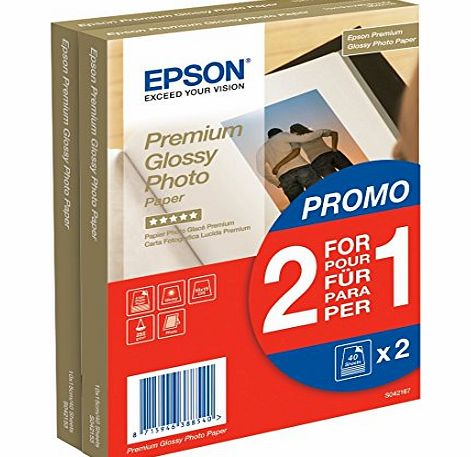Epson Twin pack of Epson 10x15 Premium Glossy Photo Paper - 40 Sheets (x 2 = 80 sheets) product image