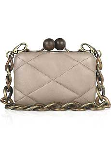 Blush quilted leather box clutch with wooden clasp fastening on top. - CLICK FOR MORE INFORMATION