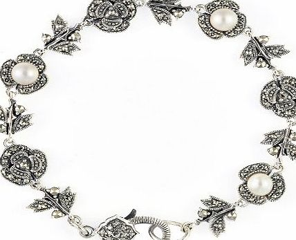 Esse Marcasite Sterling Silver Fresh Water Pearl and Marcasite Flower Girl Bracelet with Fancy Clasp 17cm Long