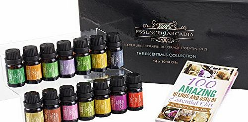 Essence Of Arcadia Top 14 Luxury Aromatherapy Essential Oils Set (10ml), Free Recipe Book Included,100 Pure Therapeutic Grade Oil