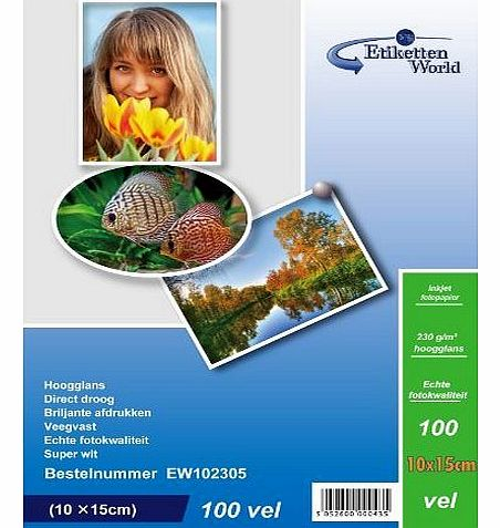 100 Sheets 10x15cm 230g/m² Photo paper: very glossy and waterproof photo paper, compatible with all current Ink Jet and Photo Printers from EtikettenWorld BV