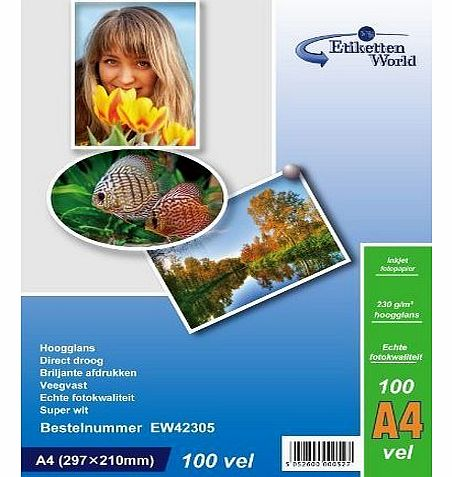100 Sheets A4 230g/m² Photo paper: very glossy and waterproof photo paper, compatible with all current Ink Jet and Photo Printers from EtikettenWorld BV