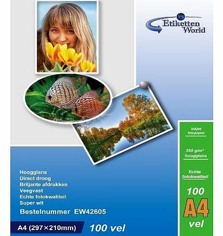 100 Sheets A4 260g/m² Photo paper: very glossy and waterproof photo paper, compatible with all current Ink Jet and Photo Printers from EtikettenWorld BV