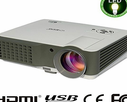 EUG LCD LED Home Theater Video Projector Full HD HDMI Support 1080p 3D 2500 Lumens Portable for Home Cinema Theatre Games Iphone Ipad Laptop
