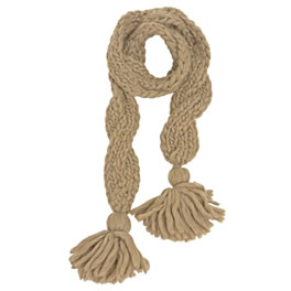 Eugenia Kim Taupe Chunky Wool Braided Knit Scarf