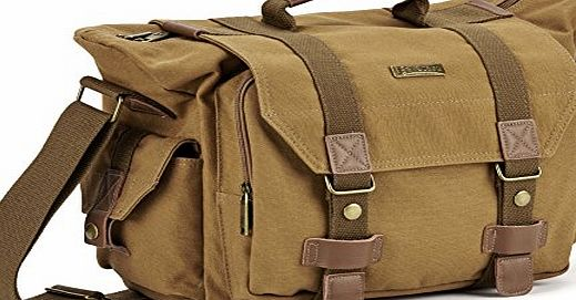 Evecase Large Canvas Messenger DSLR Digital Camera Bag w/Rain Cover, Tablet/Laptop Compartment, Removal padded insert and Shoulder Strap - Brown