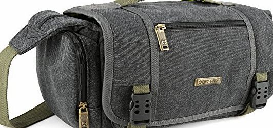 Evecase Large Vintage Messenger Digital SLR Camera Case / Bag for Canon Nikon Sony Panasonic FujiFilm Olympus Pentax and more DSLR Camera - Grey