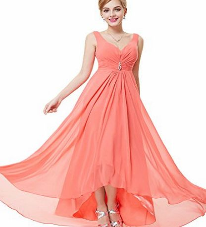 Ever Pretty Double V-neck Rhinestones Ruched Bust High Low Evening Dress 10UK Coral