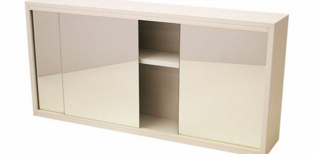 ewi white mirrored 3 door bathroom toilet wall cabinet 66x35x13cm p