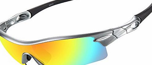 Ewin E02 Polarized Sports Sunglasses, 5 Interchangeable Lenses for Golf Fishing Cycling Driving Running Glasses (Silveramp;Grey)