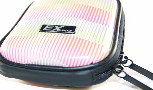 Ex-Pro Expression Collection - Rainbow Lines White - Hard Clam Shock proof Digital Camera Case Bag CR5047G for Vivitar ViviCam 5015, 5018, 5020, 5024, 5399, 7690, 8018, 8025, 8225, 8324, DVR510, T234