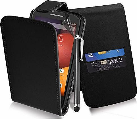 Excellent Accessories Motorola Moto E - Black Exclusive Leather Easy Clip On WALLET / FLIP Case / Cover / Pouch With Card Holders + Free Clear Screen Protector + Polishing Cloth + Touch Screen Stylus product image