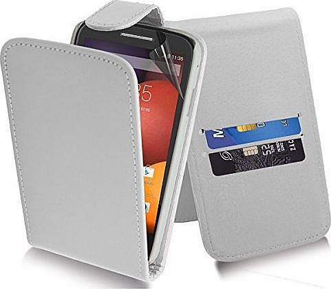 Excellent Accessories Motorola Moto E - White Exclusive Leather Easy Clip On WALLET / FLIP Case / Cover / Pouch With Card Holders + Free Clear Screen Protector + Polishing Cloth product image