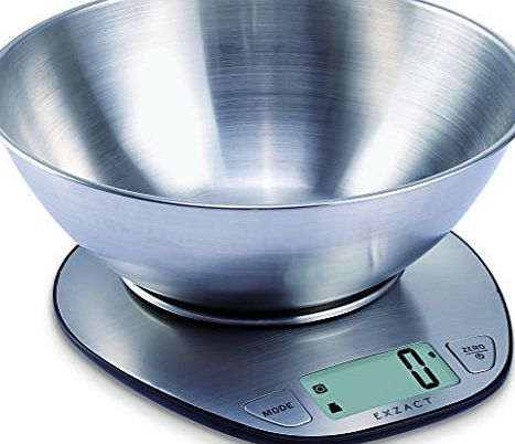 Exzact EX4350 Premium Large Display Electronic Wet and Dry Food Weighing Kitchen Scale with Stainless Steel Mixing Bowl - 5 Kilogram / 11 Pound