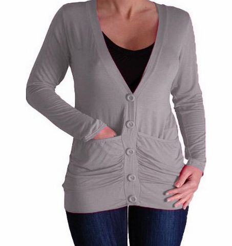 Pacific Draped Lightweight Waterfall Button Cardigan with Pockets Light Grey S/M