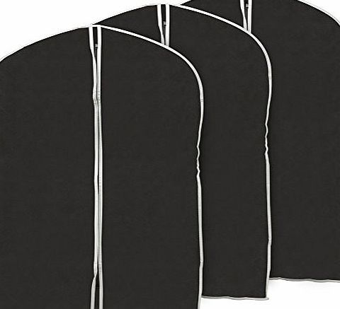 EZOWare Set of 3 Foldable Breathable Garment Bag Storage Cover Bag Protector for Suit, Coat, Fur Outfit, Leather Jacket, Top Shirt, Tuxedo and More Clothes- Black with Gray Trim