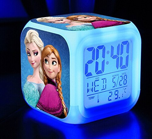 Clest F&H Frozen Queen Elsa Princess Anna Olaf LED Colorful Flashing Alarm Clock Christmas Gift
