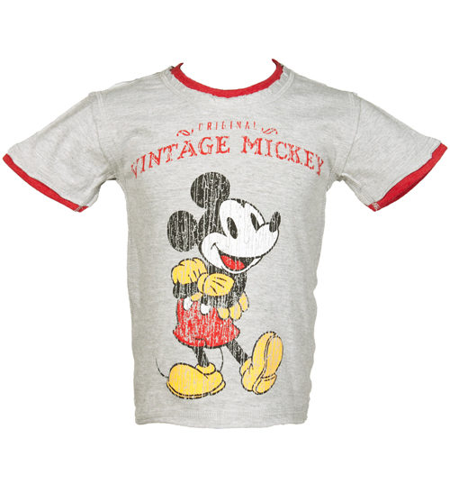 Fabric Flavours Kids Grey Vintage Mickey Mouse T-Shirt from product image