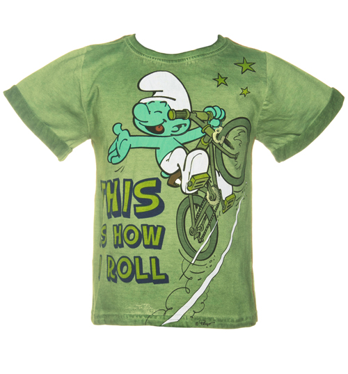 Fabric flavours kids this is how i roll smurf t shirt from