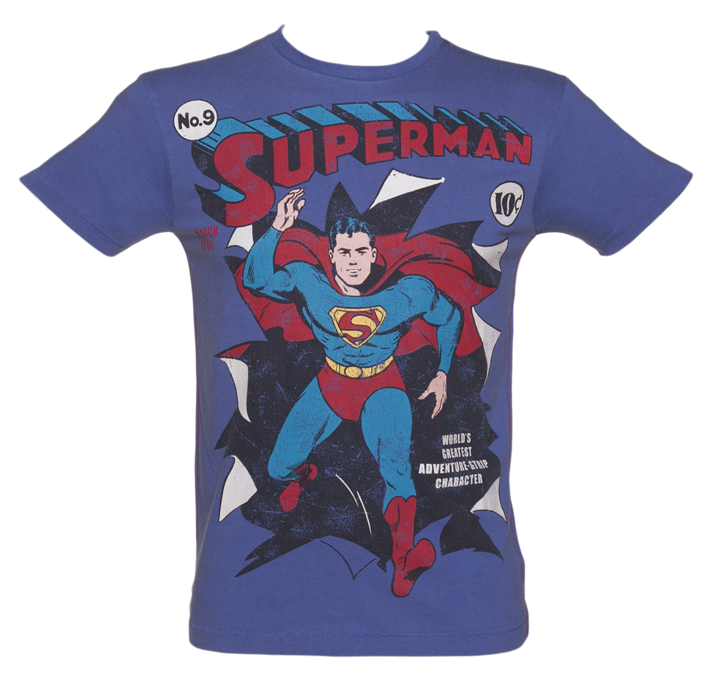 Fabric Flavours Mens Washed Blue Superman Burst T-Shirt product image