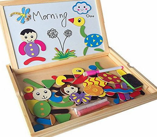 Fajiabao Wooden Double Side Drawing Writing Board Magnetic Puzzle Game Toy Set for Boys Girls