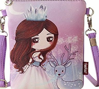 FakeFace Teens Girls Kids Students Novelty Cartoon PU Leather Mini Shoulder Bags Crossbody Bags Cell Phone Case Holder Small Wallet Purse Cash Key Coin Pouches Clutch Handbag Purple