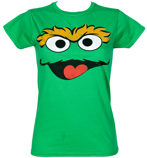 Fame and Fortune Ladies Oscar Face Sesame Street T-Shirt from product image