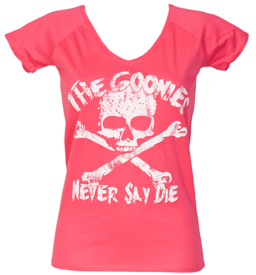 Ladies Pink Goonies Never Say Die Classic V Neck