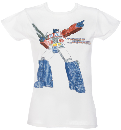 Fame and Fortune Ladies White Transformers T-Shirt from Fame and product image