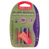fameart NMHAAA1000 1000mAh AAA Battery Pack of 4