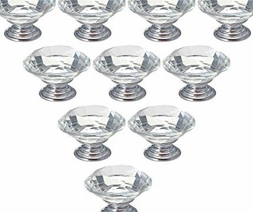 FamilyMall 10pcs Diamond Crystal Glass 30mm Kitchen Bedroom Toliet Door Knobs Handle Drawer product image