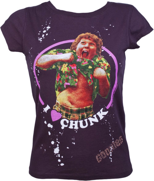 Black I Love Chunk Ladies Goonies T-Shirt from
