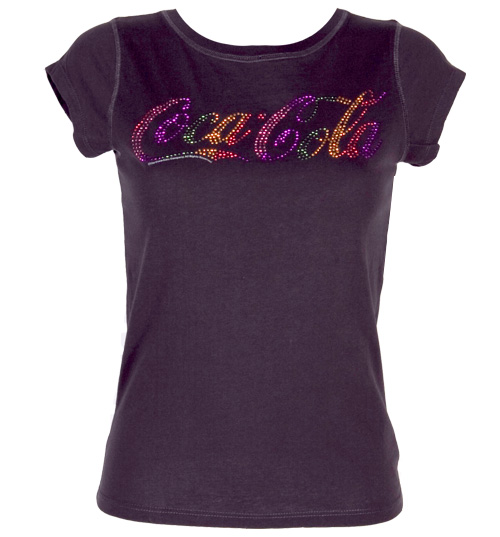Famous Forever Ladies Rainbow Diamante Coke Logo T-Shirt from product image