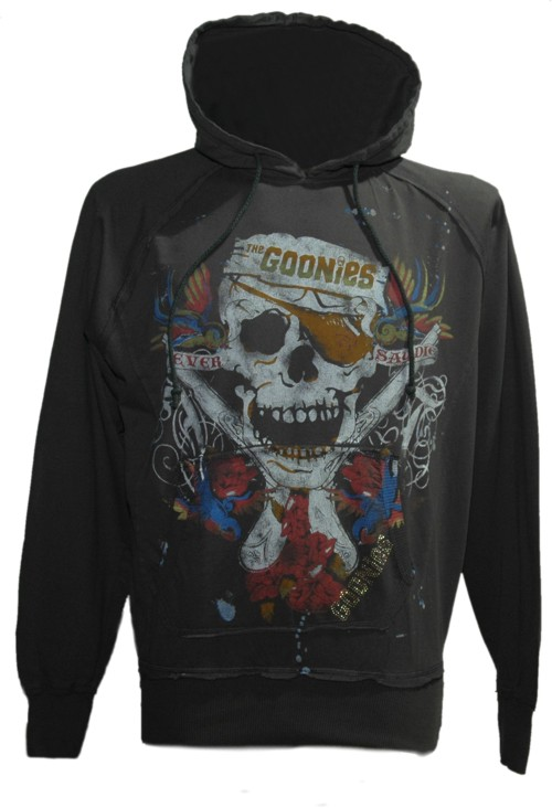 Men` Washed Black Goonies Tattoo Hoodie from Famous Forever