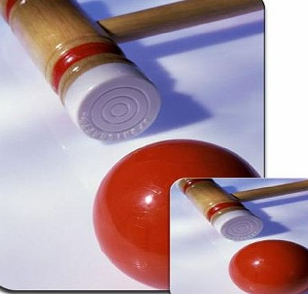 Fancy A Snuggle Croquet Mallet Ready To Strike On Red Ball Premium Mousematt amp; Coaster Set