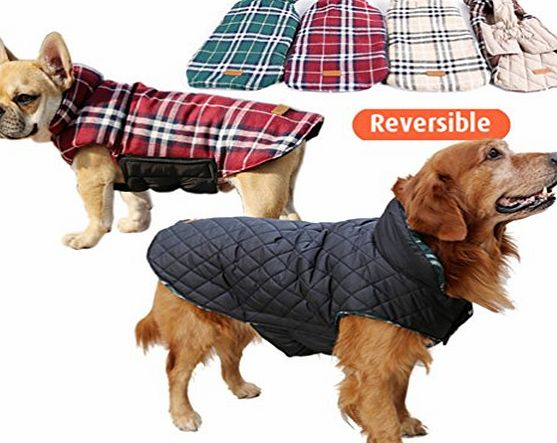 Fang Manon Red - Waterproof Reversible Dog Jacket Designer Warm Plaid Winter Dog Coats Pet Clothes Elastic Small to Large Dog Clothes Winter - ( F0M0, N36 )