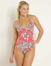San Jose Underwired Halterneck Swimsuit - Hibiscus