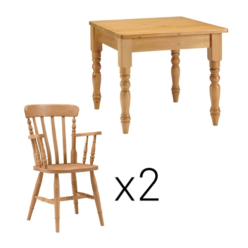carver chair : farmhouse pine 91cm table and 2 carver chairs from www.comparestoreprices.co.uk size 500 x 500 jpeg 66kB