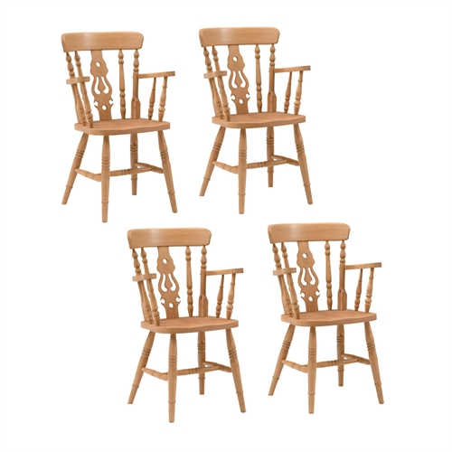 Farmhouse Pine Set of 4 Fiddleback Carver Chairs review pare prices bu