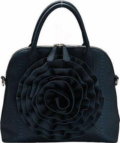 FASH Limited Navy Blue Rose Handbag by FASH