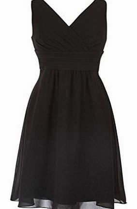 fashion house Knee Length V-neck Sleeveless Chiffon Cocktail Dress Black Size 10 product image