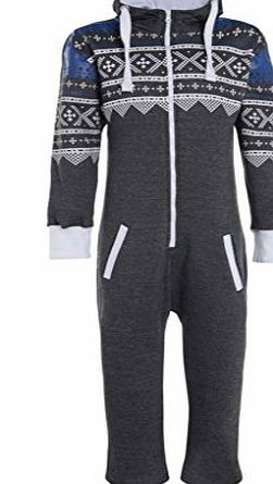 Fashion Oasis KIDS BOYS GIRLS AZTEC HOODED ONESIE ALL IN ONE JUMPSUIT SIZE 7-14YRS (13/14 YEARS, CHARCOAL GREY)