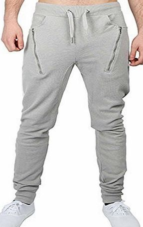 Fashion Star Mens Designer Crotch Skinny Slim Fit Stretch Joggers Bottoms Pants Trousers Gym