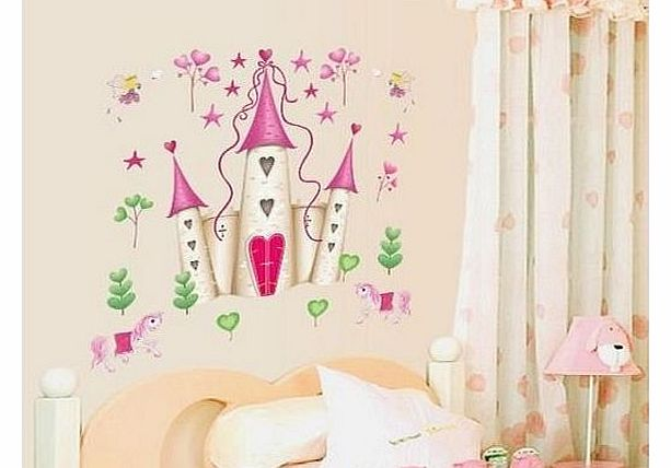 pics photos fairy princess wall art wall sticker outlet fairy princess castle childrens wall sticker world of