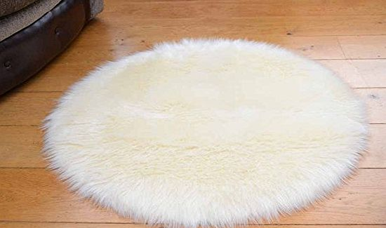 Faux Fur Soft Ivory/Cream Faux Fur Circular Sheepskin Style Rug Available in 2 Sizes (85cm Diameter) product image