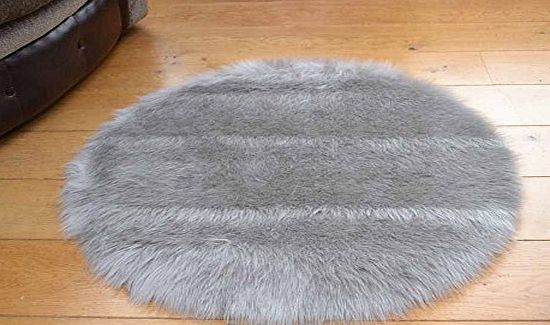 Faux Fur Soft Silver/Grey Faux Fur Circular Sheepskin Style Rug Available in 2 Sizes (68cm Diameter) product image