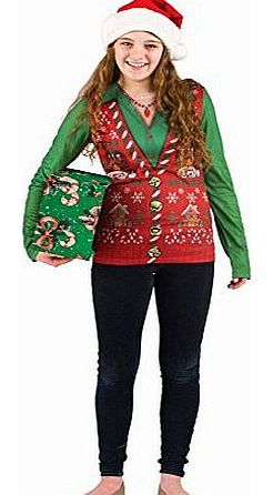Faux real tees ladies long christmas vest uk 12 14 review compare
