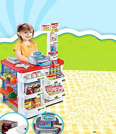 FB FunkyBuys Kids Corner 36 Pcs Super Market Shopping Store Children Supermarket Stall Food Vegetable Grocery Roll Play Set Educational Activity Stall Fun Creative Game Gift (SI-TY1091)